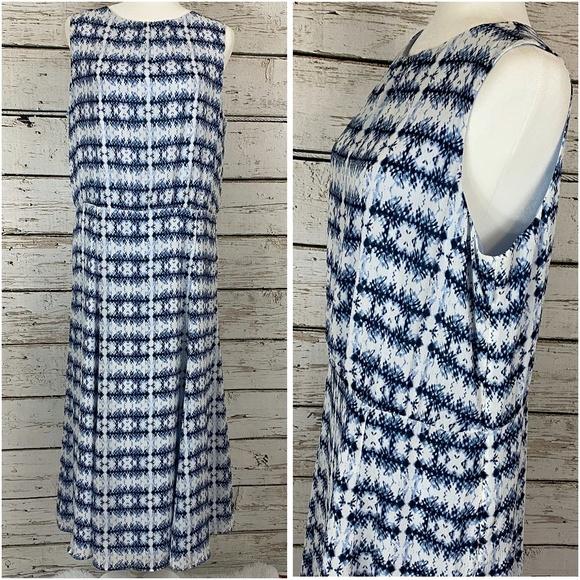 Pendleton Dresses & Skirts - Pendleton White and Blue Fit and Flare Midi Dress